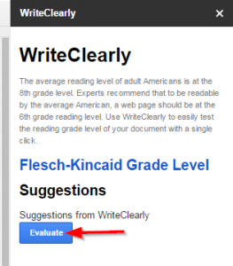 """WriteClearly Sidebar, display the """"Evaluate"""" button"""